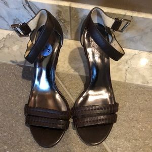 Shoes - Brown Coach Leather Heels NWOT- only worn inside.
